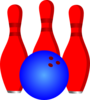 3 Red Pins And Blue Ball Clip Art