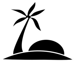 Palm Tree Beach W/sun Clip Art
