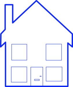 Four Window House Clip Art