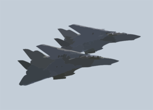 A Pair Of F-14d Tomcats Assigned To The  Bounty Hunters  Of Fighter Squadron Two (vf-2) Conduct A Fly-by Of The Aircraft Carrier Uss Constellation (cv 64). Clip Art