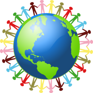 People Holding Hands Around The World Clip Art
