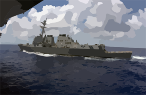 The Guided Missile Destroyer Uss Lassen (ddg 82) Underway Alongside The Aircraft Carrier Uss Carl Vinson (cvn 70) After A Scheduled Refueling At Sea (ras) Clip Art