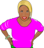 Woman In Pink & Green Clip Art