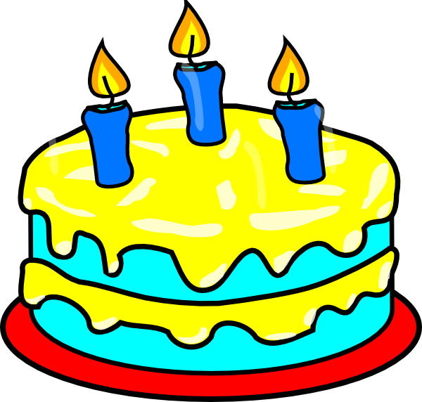 Clip Art Of Birthday Cake With Candles : Yellow Three Candle Cake Clip Art at Clker.com - vector ...