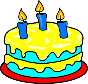 Yellow Three Candle Cake Clip Art