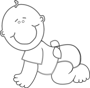 Baby Boy Crawling Outline Clip Art