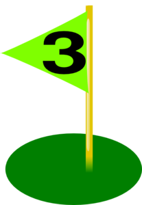 Golf Flag 3rd Hole Bolder Number Clip Art