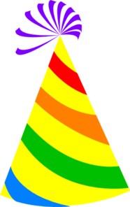 Rainbow Party Hat Yellow Clip Art