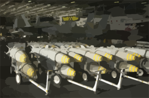 Bunker Buster Bombs Are Staged In The Hangar Bay Aboard Uss Constellation (cv 64). Clip Art