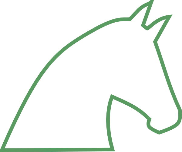 Stick Horse Pattern Horse outline no fill - green