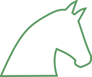 Horse Outline No Fill - Green Clip Art