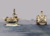 Amphibious Assault Ship Uss Bataan Takes On Fuel And Supplies From The Fleet Oiler Usns John Ericsson Clip Art