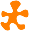 Orange Puzzle Piece With White Outline Clip Art