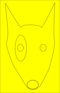 Yellow Dog Face Line Drawing Clip Art