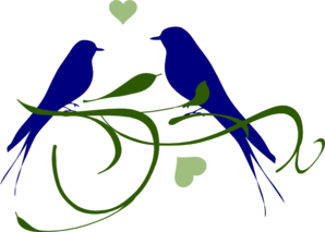 Lovebirds On A Branch Clip Art
