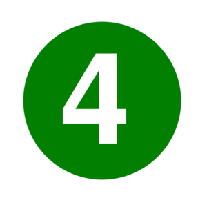White Numeral 4 Inside Green Circle Clip Art