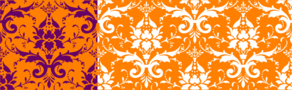 Dark Purple On Orange Damask Clip Art