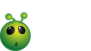 Smiley Green Alien Wow No Shadow Clip Art