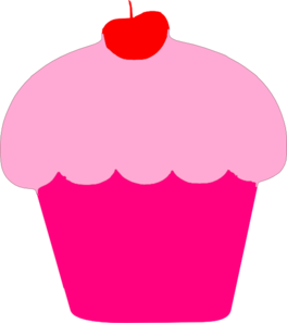 Pink Cupcake With Cherry Clip Art