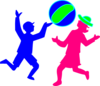 Boy And Girl Playing Ball Clip Art