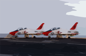 Two T-45c Goshawks Assigned To Training Air Wing Two Sit Chocked And Chained On The Flight Deck Aboard Uss Harry S Truman (cvn 75) While Awaiting Nighttime Carrier Qualifications To Commence. Clip Art