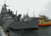Uss Valley Forge (cg 50) Is Assisted Toward The Pier By Tugs Clip Art