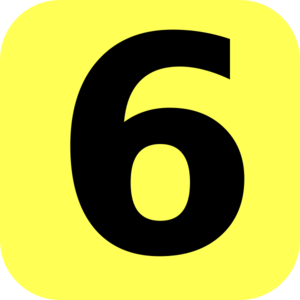 Yellow Rounded Number 6 Clip ArtYellow 6