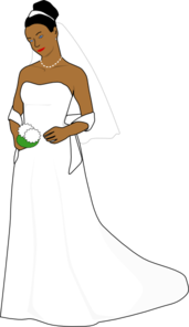 African American Bride With Blue Eyes Clip Art