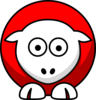 Sheep Looking Straight Red With White Face Clip Art