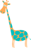 Giraffe Lt Orange With Teal Spots Clip Art