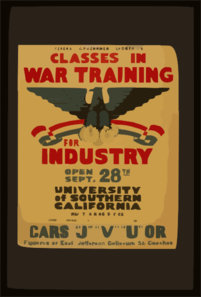 Federal Government Sponsored Classes In War Training For Industry Clip Art