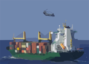 A Ch-46 Sea Knight Helicopter Performs A Vertical Replenishment (vertrep) With The Supply Ship Warnow Trader. Clip Art