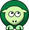 Sheep 2 Toned Greens Looking Up Right Clip Art