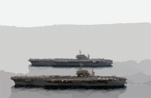 Ss Kitty Hawk (cv 63) And Uss Constellation (cv 64), The Navy S Two Remaining Kitty Hawk Class Aircraft Carriers, Underway Together In The Arabian Gulf Clip Art