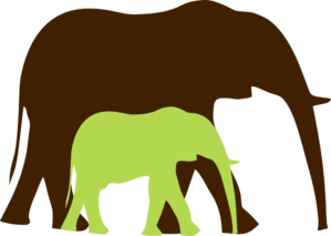 Green Baby And Mom Elephant3 Clip Art