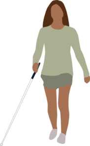 Blind Woman Walking Clip Art