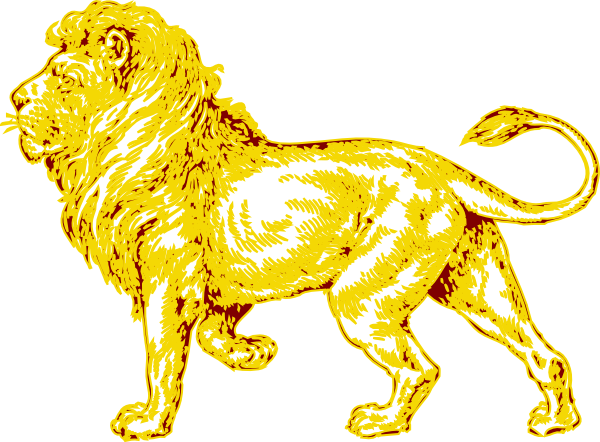 Lion In Gold With Brown Outline Clip Art at Clker.com - vector clip ...