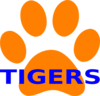 Orange Paw Print Tigers Clip Art