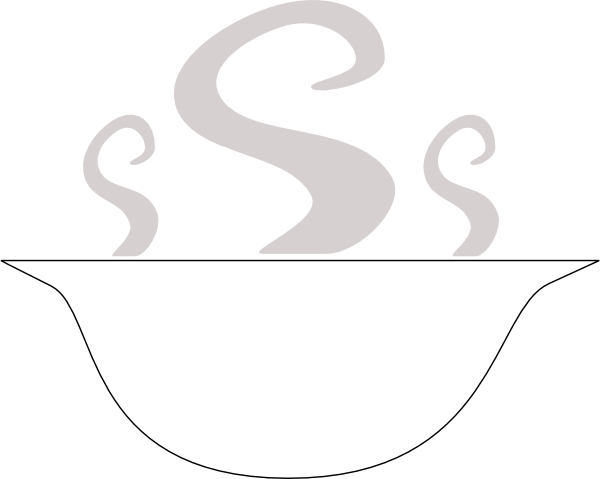 Bowl of soup clipart black and white