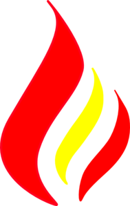Red Flame Solid Color Clip Art