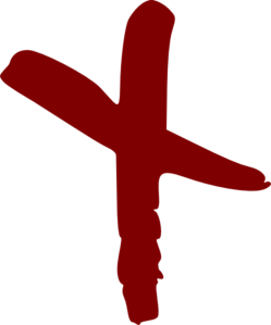 Red Hand Drawn Cross Clip Art