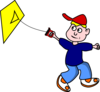 Kid Flying Kite Clip Art