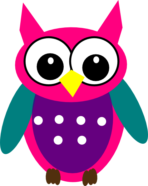 pink purple turquoise owl clip art at clker com vector clip art rh clker com