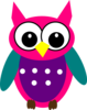 Pink Purple Turquoise Owl Clip Art
