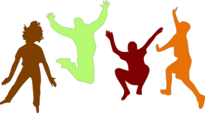 Kids Jumping (fall) Clip Art