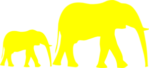 Mom And Baby Elephant Yellow Clip Art