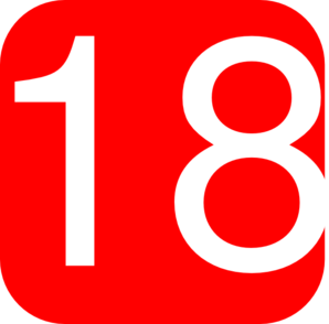 Red, Rounded, Square With Number 18 Clip Art