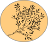 Black And White Olive Branch W Orange Clip Art
