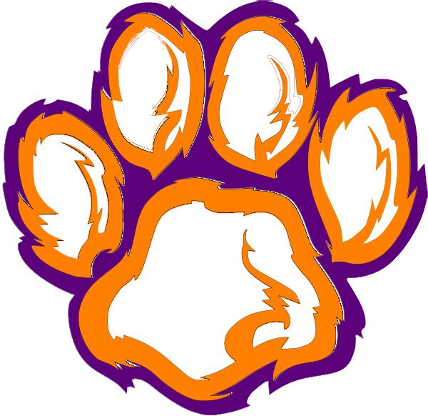 Clker.com Orange White Clip Tiger Paw Purple at Art