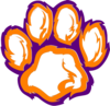 Tiger Paw White Orange Purple Clip Art